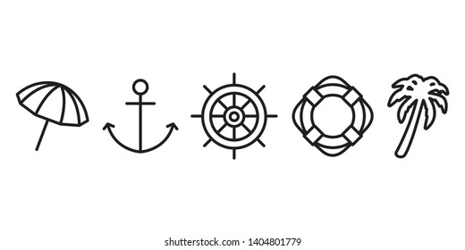 Anchor vector boat helm swimming ring icon logo symbol umbrella beach palm tree coconut pirate maritime Nautical ocean sea illustration