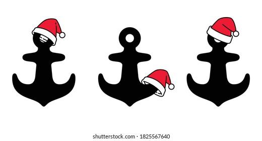 Anchor vector christmas santa claus hat icon logo helm boat symbol pirate Nautical maritime simple cartoon illustration graphic doodle design