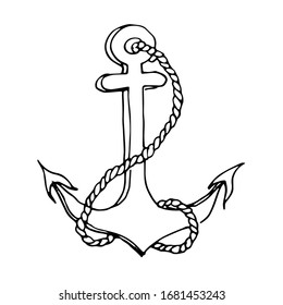 anchor vector drawing with contour lines . isolated white background. maritime attributes, coloring.