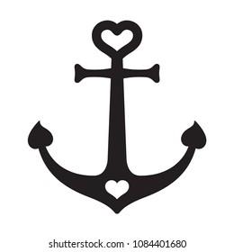 Anchor vector icon helm heart logo boat Nautical maritime valentine ocean sea illustration symbol graphic