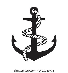 Anchor vector icon logo boat symbol pirate helm Nautical maritime illustration graphic simple design