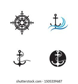 Anchor vector icon logo Nautical maritime sea ocean boat illustration symbol