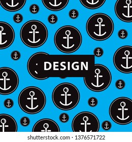 anchor vector pattern, with black accents and anchors in the circle and blue background makes it unique. design, background, unique, elegant
