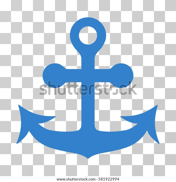 Anchor vector pictograph. Illustration style is a flat iconic cobalt symbol on a transparent background.