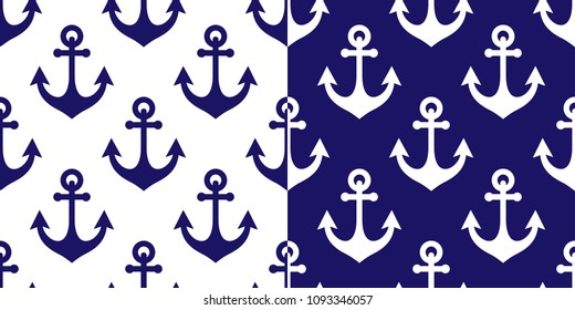 Anchor vector seamless pattern, marine navy blue repetitive background, coastal wallpaper or textile design. Nautical decoration, set of two sea ornaments with ship anchors
