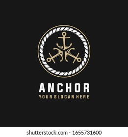 Anchor in vintage style. logo with three rotating anchors, Vector illustration
