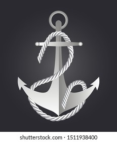 Anchor with waving nautical rope. Navy, fleet emblem vector on the black background for web, banner, fabric, t-shirt. Flat icon, maritime logo, pirate symbol is shown.