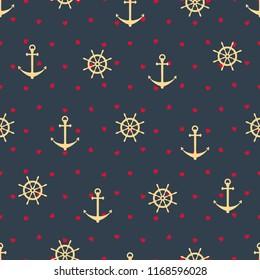 anchor wheel heart vector seamless pattern