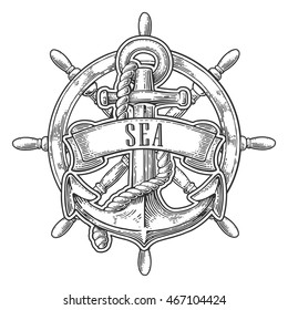 Anchor and wheel with ribbon isolated on white background. Vector vintage engraving illustration with title SEA. Hand drawn in a graphic style.