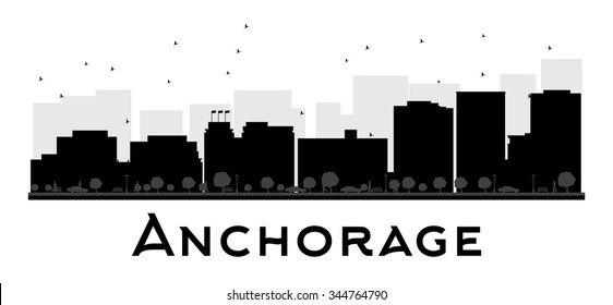 Anchorage City skyline black and white silhouette. Vector illustration. Simple flat concept for tourism presentation, banner, placard or web site. Business travel concept. Cityscape with landmarks