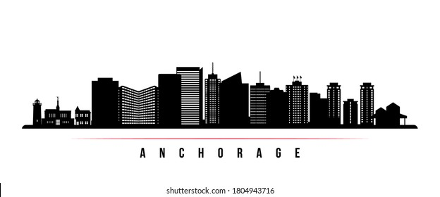 Anchorage skyline horizontal banner. Black and white silhouette of Anchorage City, Alaska. Vector template for your design.