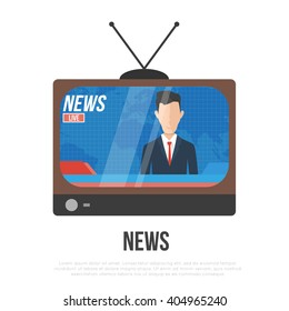 anchorman on tv broadcast news. media on television concept. isolated flat vector illustration