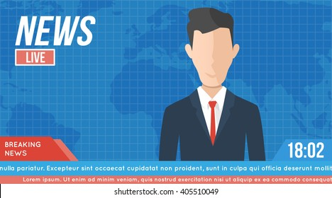 anchorman on tv broadcast news. media on television concept. with globe background. anchor man flat vector illustration