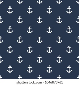 Anchors background. Vector seamless marine pattern.  Card template.