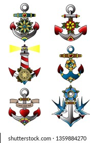 Anchors, Flowers, Swallows, Lighthouse, Heart Traditional Tattoo Designs