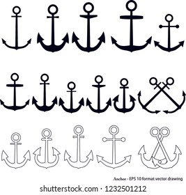 Anchors. Maritime related object. EPS 10 format vector drawing. It can be used for various printing drawings and for decoration purposes.