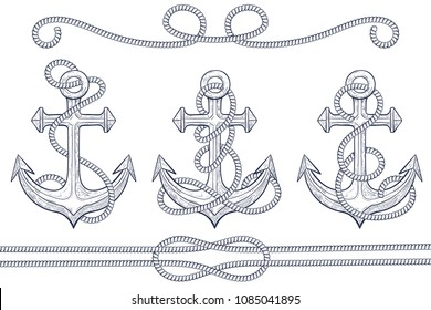 Anchors with rope. Hand drawn sketch. Vector illustration isolated on white background