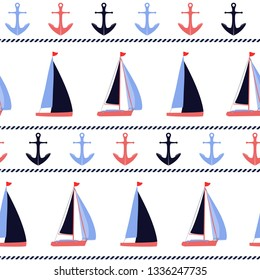 Anchors and sailboats nautical vector seamless pattern background. Marine design in blue, coral, white, and navy blue colors for coastal style projects, fabric, packaging.