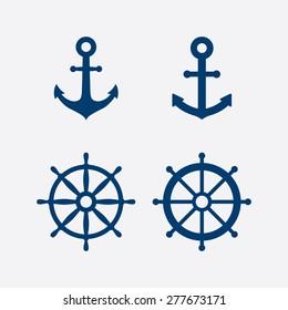 Anchors and steering wheel / ship wheel icons set - Nautical symbols. Vector illustration
