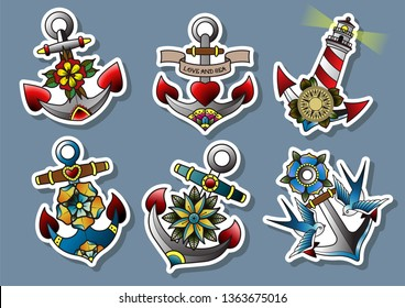 Anchors Stickers Set Traditional Tattoo Style