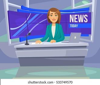 Anchorwoman character on tv. Breaking News. Vector flat cartoon illustration