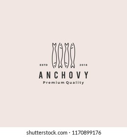 anchovy fish logo hipster vintage retro label emblem packaging vector icon seafood illustration