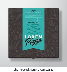 Anchovy Frozen Pizza Realistic Cardboard Box. Abstract Vector Packaging Design or Label. Modern Typography, Sketch Seamless Food Pattern. Black Paper Background Layout. Isolated.