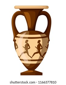 Ancient amphora illustration. Amphora with humans and two handle. Greek or roman culture. Brown color and patterns. Flat vector illustration isolated on white background. Greek pottery icon.