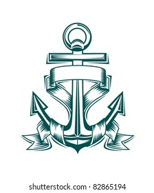 Ancient anchor with ribbons for heraldic design, such a logo. Rasterized version also available in gallery