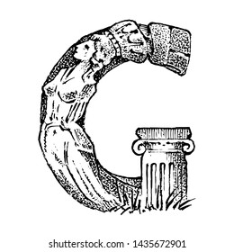 Ancient antique capital letter G with an ornament. Greek culture. Double exposure. Hand drawn engraved sketch in vintage style.
