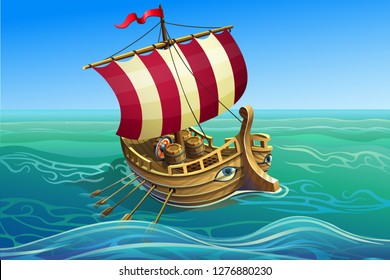 Ancient antique ship. A wooden warship with a sail, trireme. Vector illustration.
