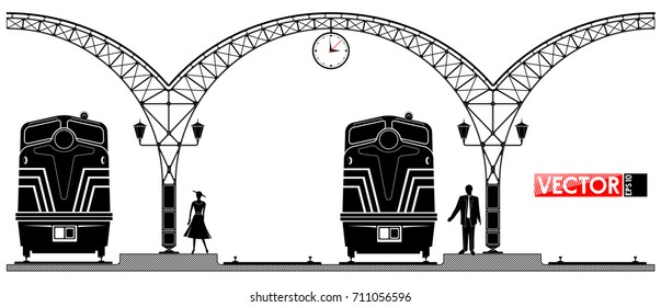 An ancient arched metal building of the railway station. People and locomotives on the platform. Black profile