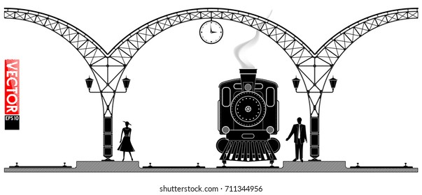 An ancient arched metal building of the railway station. People and steam locomotiv on the platform. Black profile