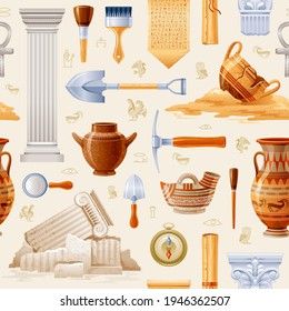 Ancient Archeology pattern. Archaeology and history seamless background. Vector greek Egyptian art. Tools - dig, brush, magnifier, compass. Pottery and artifact - cup, jar, column, papyrus scroll set