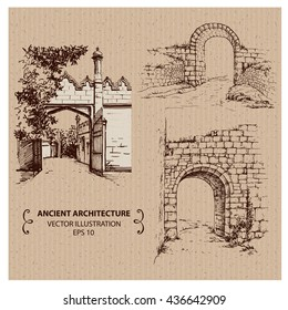 Ancient arches and gates, hand drawn vector illustration