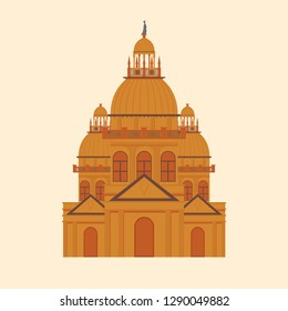 Ancient architecture in Italy on cream background.
