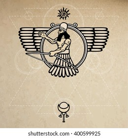 Ancient Assyrian deity. Background - imitation of old paper.