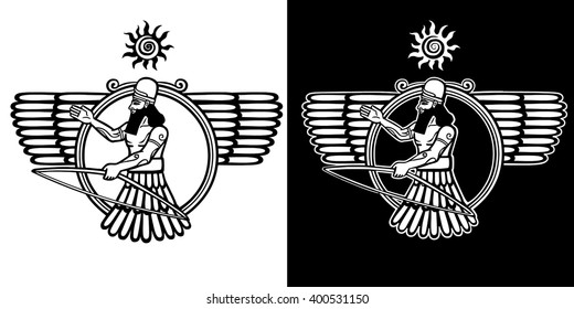 Ancient Assyrian deity winged archer. The linear isolated drawing. Black and white option.