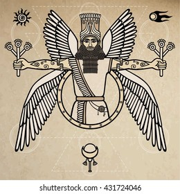Ancient Assyrian winged deity. Character of Sumerian mythology. Vector illustration. Background - imitation of old paper.