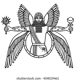 Ancient Assyrian winged deity. Character of Sumerian mythology. The linear black-and-white drawing isolated on a white background. Vector illustration.