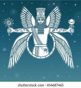 Ancient Assyrian winged deity. Character of Sumerian mythology.  Background - the night star sky.