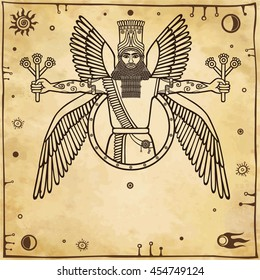 Ancient Assyrian winged deity. Character of Sumerian mythology. A background - imitation of old paper. Vector illustration.