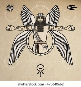 Ancient Assyrian winged deity. Character of Sumerian mythology. Space symbols. Background - imitation of old paper. Vector illustration.