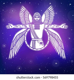Ancient Assyrian winged deity. Character of Sumerian mythology. Esoteric symbol. A background - the night star sky. Vector illustration.