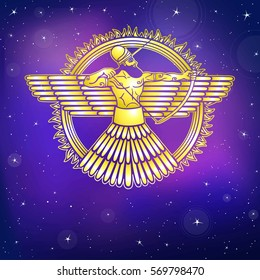 Ancient Assyrian winged deity. Character of Sumerian mythology. Gold imitation. A background - the night star sky. Vector illustration.