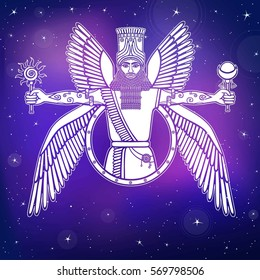 Ancient Assyrian winged deity. Character of Sumerian mythology. A background - the night star sky. Vector illustration.