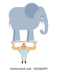 Ancient athlete and elephant. Vintage circus strongman. Bodybuilder with big moustaches acts in circuses. Power room with an animal from jungle. Retro strong man and wild beast