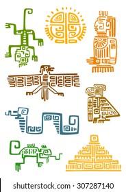 Ancient aztec and maya ornamental symbols of sun, god idol, pyramid, eagle, raven, monkey, sneak, lizard. For totem animal, religion or tattoo design