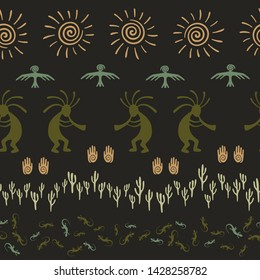 Ancient aztec or mayan american vector ethnic tribal motifs seamless pattern. Folk design with lizard, Kokopelli fertility deity, sun, eagle, cacti. American indian ornament fabric prin.