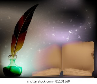 Ancient book, feather and inkwell on the magical smoky background